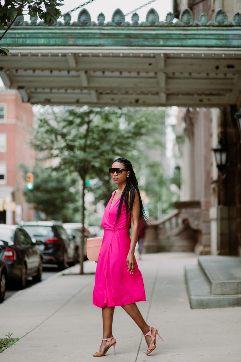 DIY hot pink wrap dress